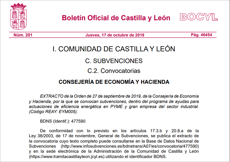 Extracto de la convocatoria de subvenciones para mejorar la eficiencia energética en pymes y grandes empresas de Castilla y León.