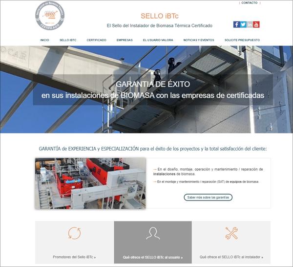 Pantallazo de la web del Sello de Instalador de Biomasa Térmica Certificado.