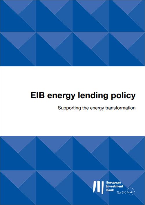 Portada del documento que recoge la nueva política de préstamos energéticos del BEI.