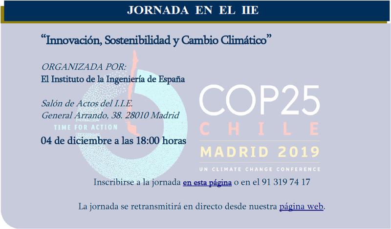 """Anuncio de la jornada """"Innovación, Sostenibilidad y cambio climático""""."""