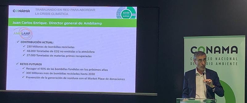 Juan Carlos Enrique Moreno, Director General de AMBILAMP, durante su intervención en el debate de la Fundación Conama dentro de la Cumbre del Clima (COP25)