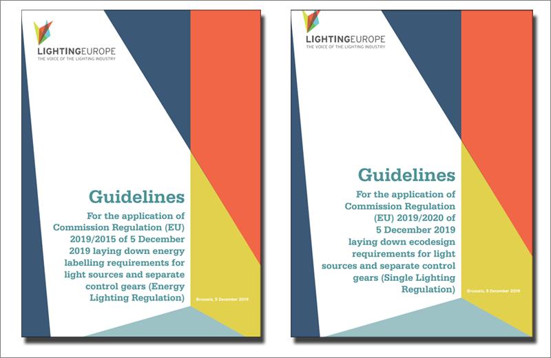Portadas de las guías en inglés de aplicación de los reglamentos de etiquetado energético y ecodiseño del alumbrado.