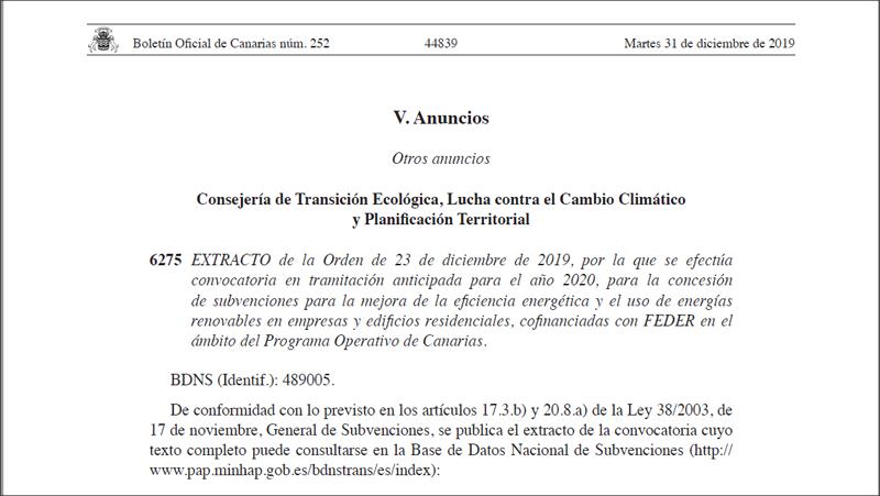 El Gobierno de Canarias amplía un 46,5% las ayudas para mejorar la eficiencia energética en empresas y edificios residenciales