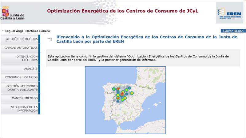 Visualización de la herramienta OPTE (Optimizació Energética de los Centros de Consumo de la Junta de Castilla y León) del EREN.