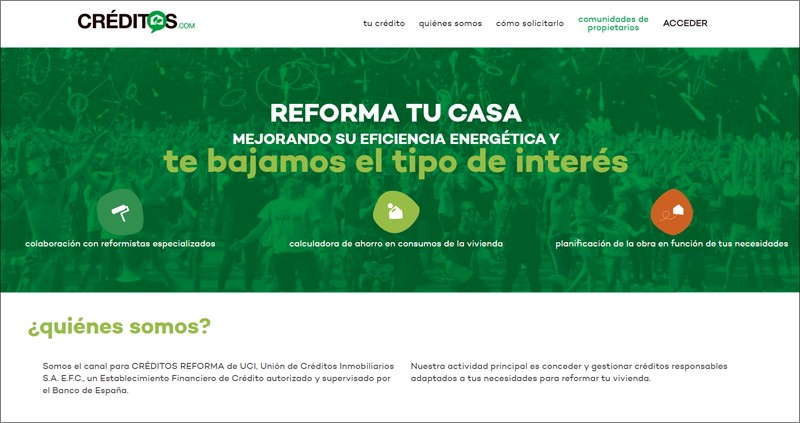 UCI lanza créditos.com, un nuevo portal de financiación para reformar los inmuebles y mejorar su eficiencia energética