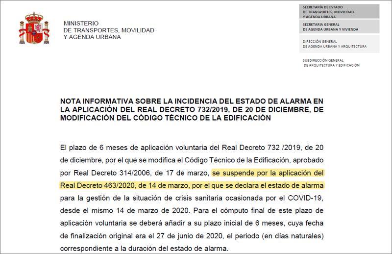 Suspendido el plazo de seis meses de aplicación voluntaria del Código Técnico de la Edificación por el estado de alarma.
