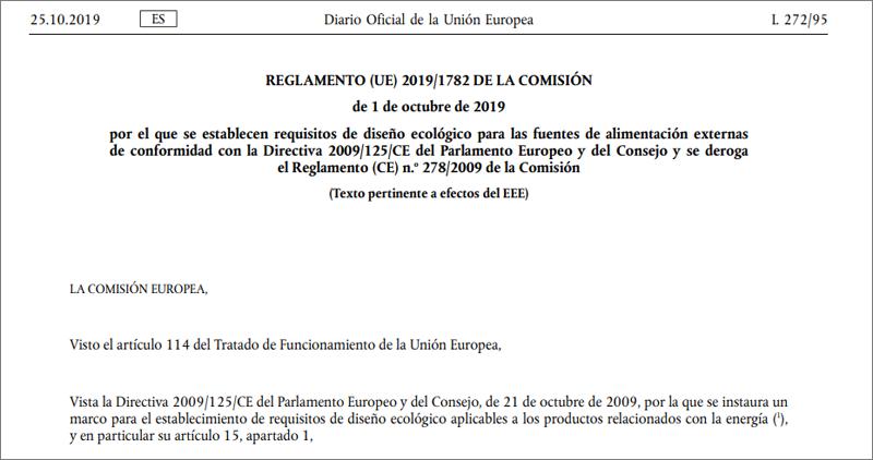 En vigor los requisitos europeos de diseño ecológico de las fuentes de alimentación externas.