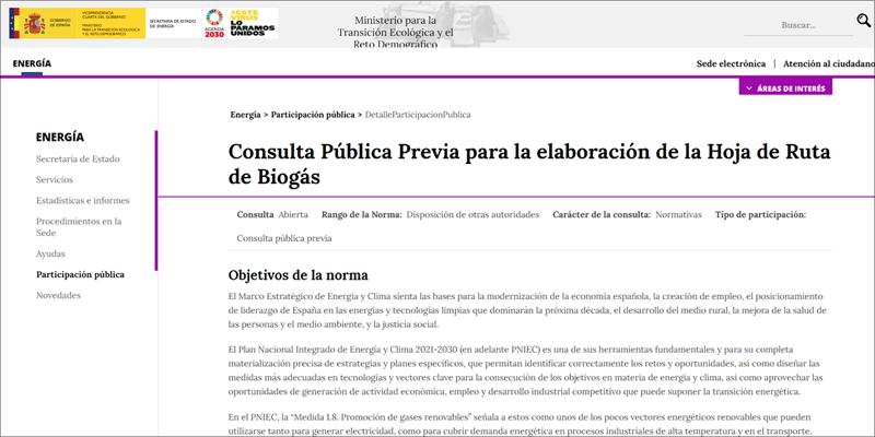 El Miteco abre el proceso de consulta pública previa para la Hoja de Ruta del Biogás