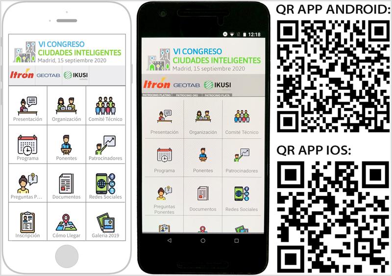 Dispositivos móviles con la aplicación del VI Congreso Ciudades Inteligentes.