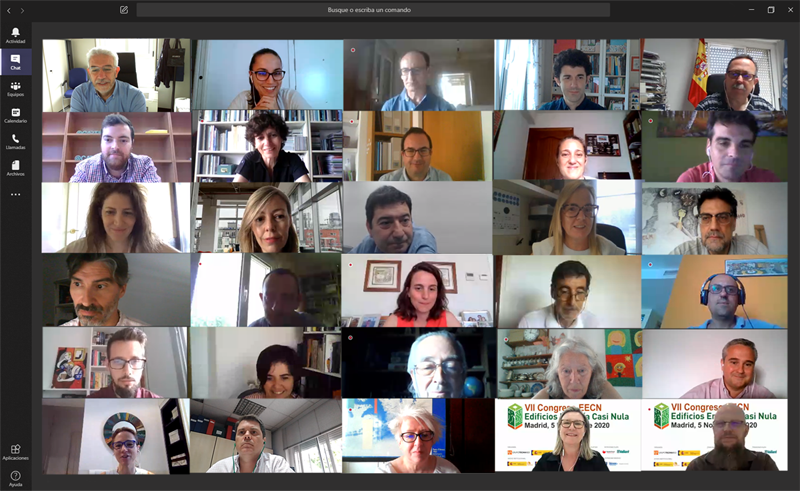 Miembros del Comité Técnico durante la primera reunión online del VII Congreso Edificios Energía Casi Nula.