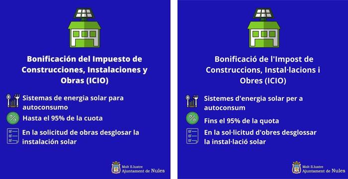 El Ayuntamiento de Nules modifica la ordenanza para incluir una bonificación en el ICIO por sistemas de energía solar con autoconsumo
