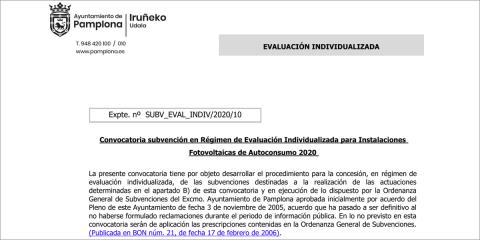 Ayudas para instalaciones fotovoltaicas residenciales de autoconsumo en Pamplona