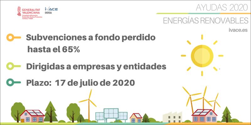 Subvenciones a fondo perdido hasta el 65% para empresas y entidades que inviertan en proyectos de energías renovables.
