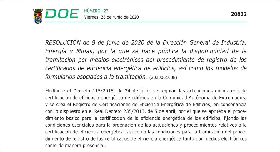 Las certificaciones de eficiencia energética de edificios se realizarán telemáticamente en Extremadura desde hoy