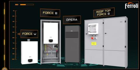 Nueva gama de calderas de condensación de alta potencia: Force W, Force B, Roof Top Force B y Opera