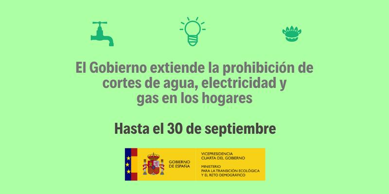 El Gobierno extiende la prohibición de cortes de agua, electricidad y gas en los hogares.