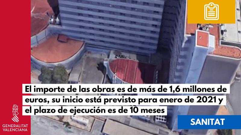 Sanidad licita las obras para mejorar la eficiencia energética del Hospital de Arnau de Vilanova.