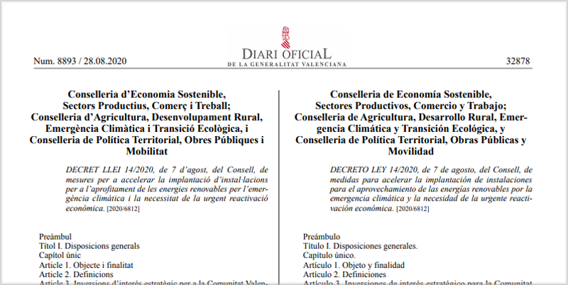 Publicación del decreto ley en el DOGV