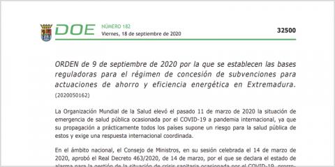 Extremadura publica las bases de las ayudas a renovables y eficiencia energética