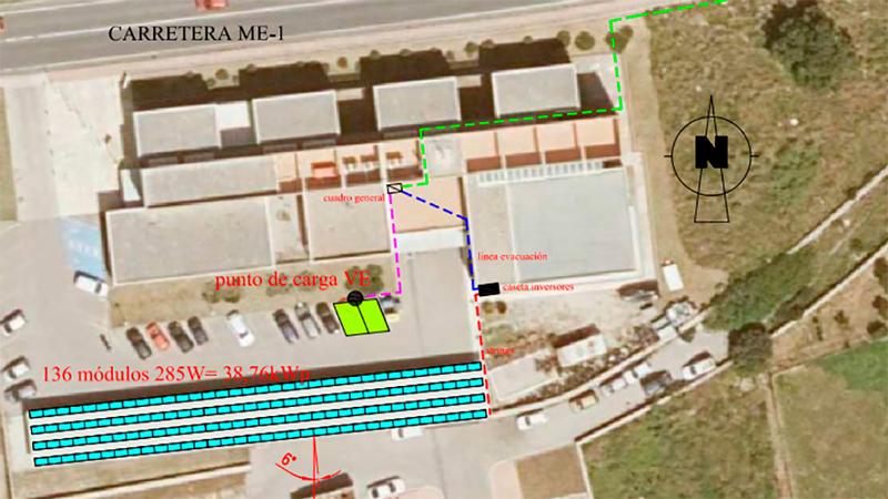 instalación fotovoltaica y un punto de recarga en Ciudadela de Menorca