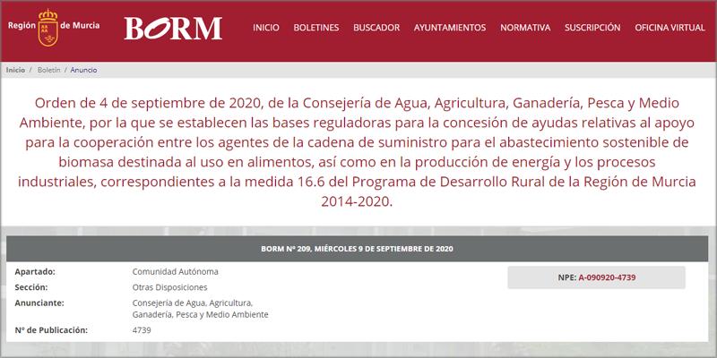 Bases reguladoras de las ayudas para el uso de la biomasa agroforestal en la Región de Murcia