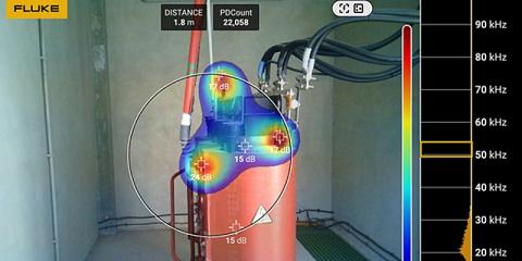 Cámara acústica de precisión ii910 de Fluke permite detectar descargas eléctricas y fugas