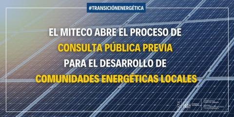 Abierto a consulta pública previa el desarrollo de comunidades energéticas locales