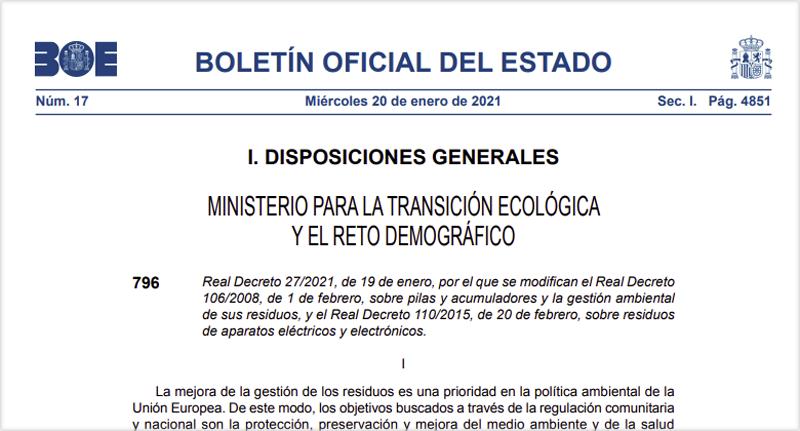 Publicación del real decreto en el BOE