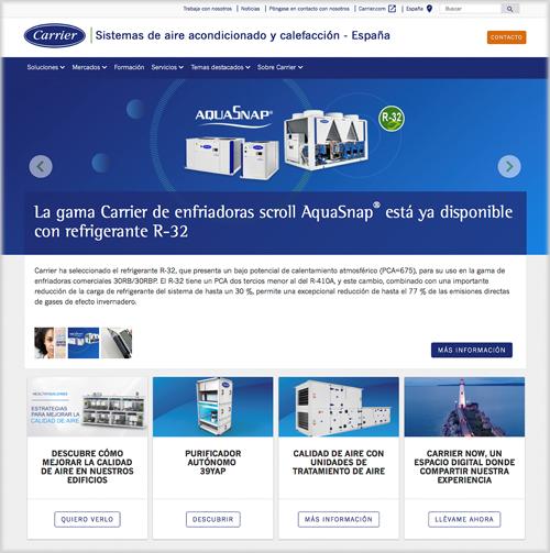 Página de inicio de la web de Carrier en España