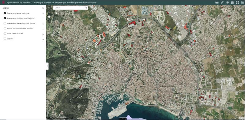 visor de aparcamientos de más de 1.000 m2 en Baleares