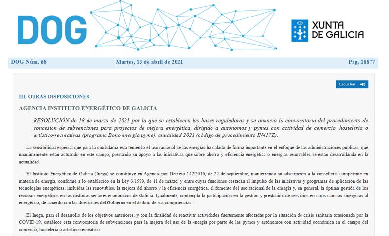 Bono Energía Pyme y Comercio de Galicia