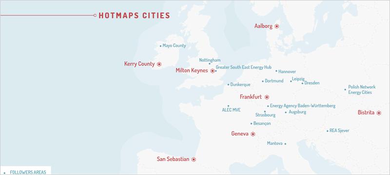 Mapa con las ciudades piloto
