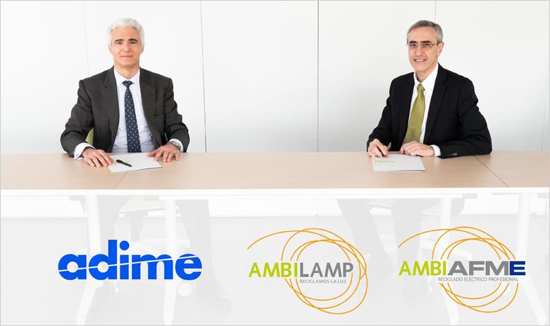 Firma del acuerdo entre Ambilamp-Ambiafme y Adime