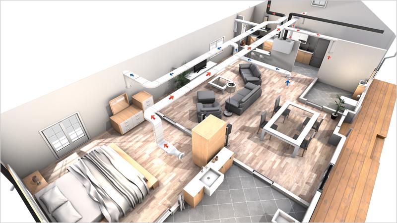 Render vivienda unifamiliar ventilación mecánica controlada doble flujo