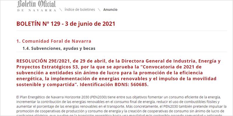 Publicación en el Boletín Oficial de Navarra