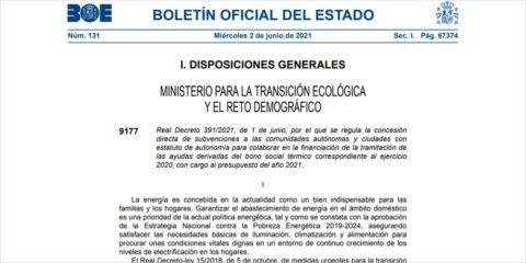 El Gobierno aporta 2,5 millones de euros a los fondos destinados a la financiación del bono social térmico