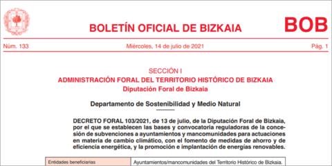 Subvenciones en Vizcaya para luchar contra el cambio climático en ayuntamientos y mancomunidades