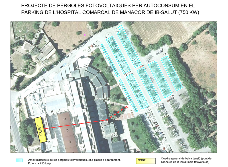 Más de un millón de euros para la instalación de placas fotovoltaicas de autoconsumo en el aparcamiento del Hospital de Manacor