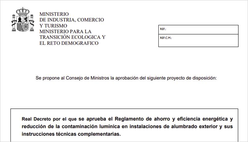 Texto del proyecto de Real Decreto