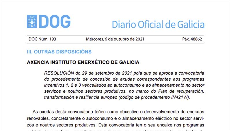 publicación de la convocatoria de ayudas en el Diario Oficial de Galicia